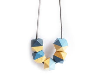Long Blue Hexagon Necklace, Geometric Necklace, Wooden Geometric Jewellery, Denim Blue Necklace, Teething Necklace, Gift for Her