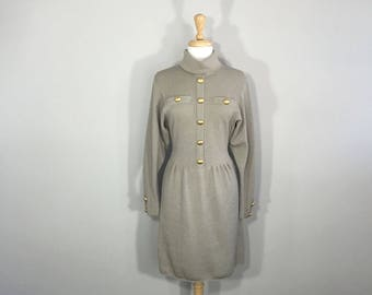 Jacobson's Taupe Wool Sweater Dress, 80s wool dress,  Military dress, Knit sweater dress,  Burnished Button Dress