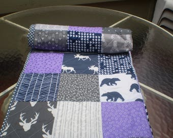 Handmade Baby quilt, baby girl quilt bedding,deer crib bedding, woodland baby quilt, grey, purple, teal nursery,bear, moose, Woodland Lass
