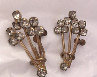 1920s antique crystal balloon screwback bouquet earrings