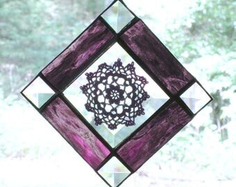 Beveled Glass Suncatcher with Vintage Purple Doily and Purple Waterglass