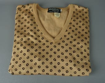 Vintage 1980s Tan Givenchy Sport Signature Sweater Sz M