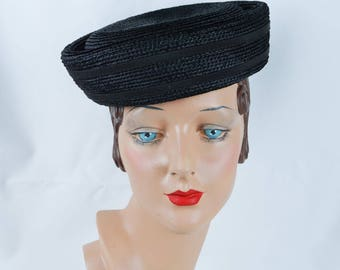 1960s Vintage Hat Black Straw Pillbox by Evelyn Varon