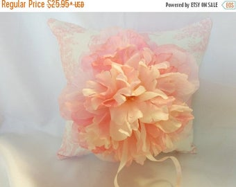 ON SALE TOILE Ringbearer Pillow -Colors- Flower Girl Basket - Pink toile w/pink peony flower- wedding bridal,  ringbearer,  Pink Toile ring