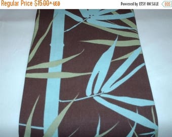 ON SALE BAMBOO Table Runner,  Chocolate Brown, Bamboo Table Runner ,With Aqua Blue, Sage Green Rpst