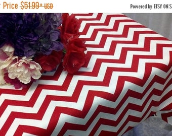 ON SALE CHEVRON Rectangle Tablecloth  Zigzag Red and white zig zag-  Chevron-  Holiday- Christmas- Wedding- Bridal- 54 60 84 96 108