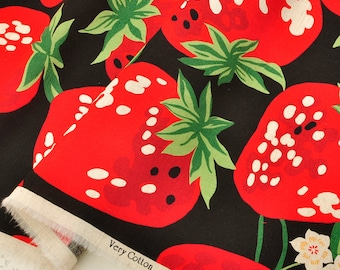 4442 - Japanese Strawberry Cotton Linen Blend Fabric - 43 Inch (Width) x 1/2 Yard (Length)