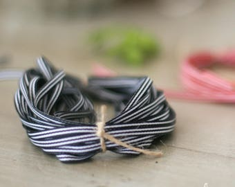"""Black and White or Red and White Narrow Stripe Grosgrain Ribbon 3/16"""""""