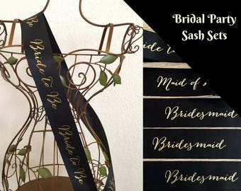 Signature Script Bridal Party 8 Sash Set - Black or White with Gold Print