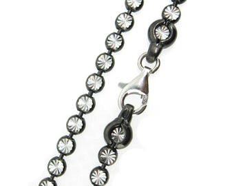 Oxidized Sterling Silver Bracelet,Anklet,Necklace,Choker-Unique Chain-For Lady or Gentleman (All sizes available) SKU:601048_OX