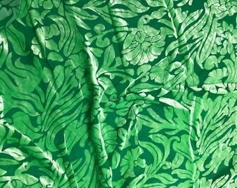 Bright Kelly Green Floral - Hand Dyed Burnout Silk Velvet - 1 Yard