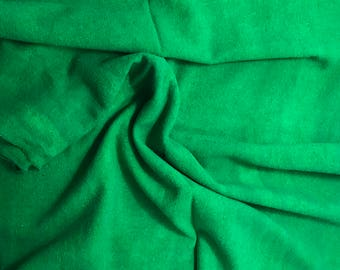 """Hand Dyed Bright Kelly Green Raw Silk Noil Fabric - 18""""x22"""""""