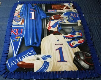 Kansas Jayhawks Locker NoSew Fleece Blanket