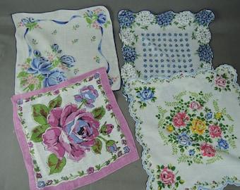 4 Vintage Hankies Pink & Blue Floral, 1950s Hankie Lot