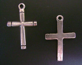 Classic Lines Silver Tone Cross Charm - Low Shipping