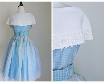 Bib Collared Gingham Dress | 1950s