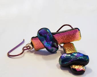 Dichroic Glass Earrings, Asymmetrical Earrings, Pink and Purple, Niobium Earrings, Fused Glass Jewelry, Leverback Option, Made in USA