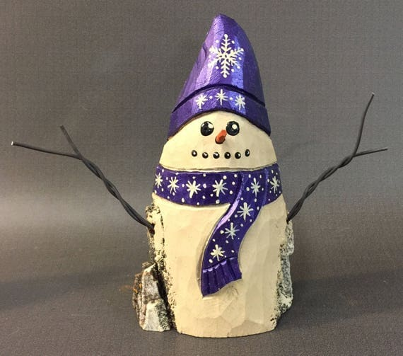 HAND CARVED original purple hat snowman from 100 year old Cottonwood Bark.