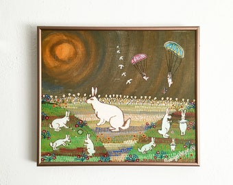Mexican Folk Art Naïf Painting of Rabbits by Rodrigo Lepe