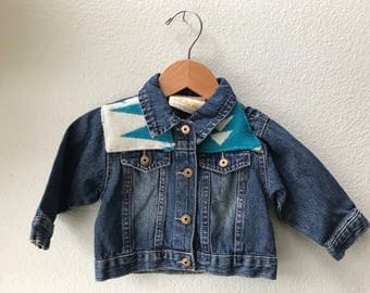 Kids Denim Vintage Jean Jacket with Oregon wool fabric appliques - Size 12 mo Native American Kids Denim Jacket-Kids Tribal Denim Jacket