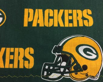 Cotton Green Pillowcase with Green Bay Packers Print