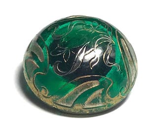 Antique Victorian Glass Button -  Green - Late 1800s - Dome Shape