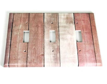 Triple  Switchplate  Light Switch Cover  Switch Plate in Pink Barnwood  (283T)