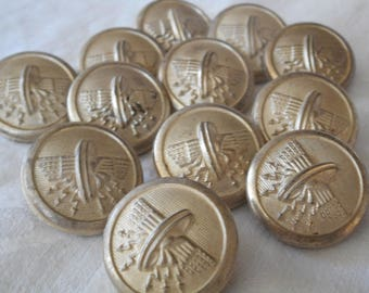 Set of 12 VINTAGE Silver Luster Clear Glass Winged Wheel with Lightning Bolts Uniform BUTTONS