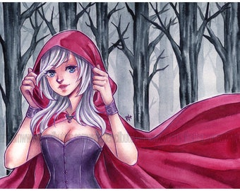 Through the Woods - ORIGINAL 8.5x11 Drawing  (anime/manga styled artwork)
