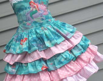 Ready to Ship Custom Boutique Ariel Little Mermaid Dress Pink Girl Should fit Size 4 or 5
