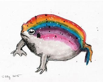 Ink painting on canvas A4 - grumpy rainbow frog of joyness and love