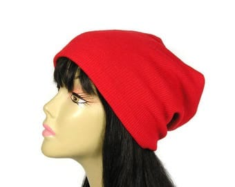 Custom Sized/Lined Red Rib Slouchy Hat Red Rib Knit Slouchy Beanie Boho Beanie Unisex Red Beanie Man's Red Slouchy Hat Woman's FREE SHIPPING