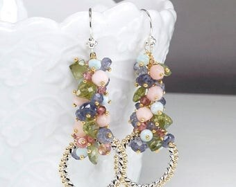 Summer SALE Tanzanite, Larimar, Pink Opal, Green Apatite, Pink Tourmaline, Iolite cluster earrings, 925 Silver hooks ... RISA Earrings
