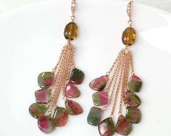 Pink/green Tourmaline slice dangle earrings, Tourmaline tassel earrings Rose Gold Filled, October Birthstone, Handmade jewelry, Gift for Her