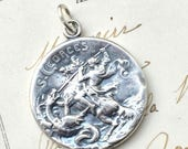 ON SALE Beautiful St George Medal - Patron of horseback riders, skin diseases, and England - Antique Reproduction