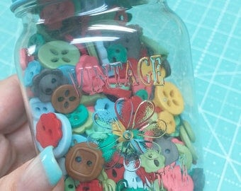 Lori Button Jar #2 - Cute Little Buttons in a Jar, Contains 500 Buttons