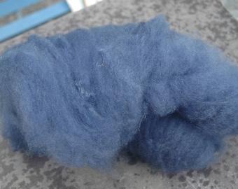 Blue Faced Leicester Hand Dyed Hand Carded Indigo Blue Batts spinning/ felting  fiber 50 grams