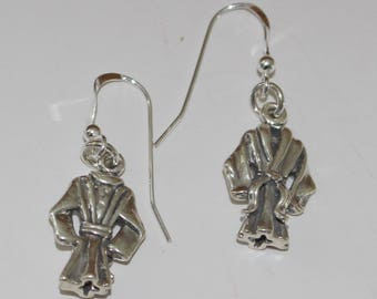 Sterling Silver 3D SPA ROBE Earrings - Vacation