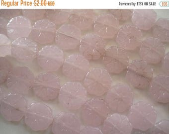 ON SALE 10 Milky Rose Pink Pressed Glass Flower Beads