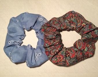 Two Hair scrunchies Scruncheys Scrunchys scrunchers Ponytail Pony Tail Covers Holders Ties ElasticsRed Blue Paisley faux eyelet print stuff