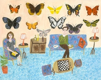 Nabokovs' butterflies. Limited edition print of an original oil painting by Vivienne Strauss.