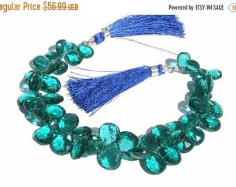 Sale 45% off 1/2 Strand -- AAA Teal Blue Quartz faceted Pear Briolettes Size - 8x7 - 12x 10mm approx