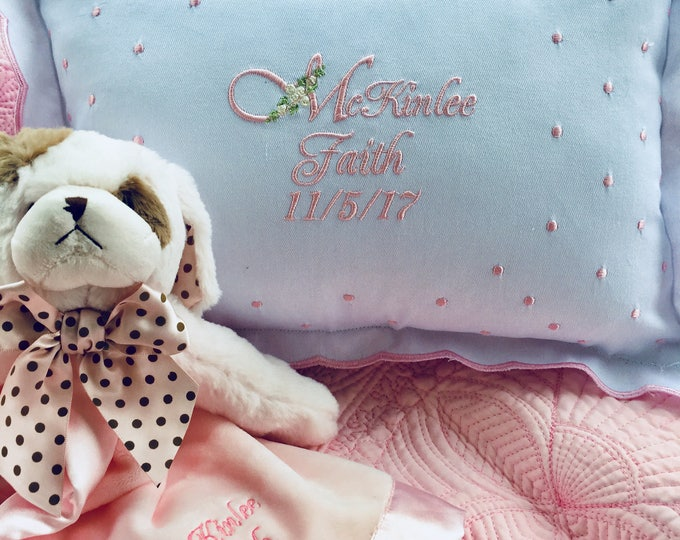 Two Piece Baby Girl Gift Set, Personalized Swiss Dot Baby Pillow Plus  Bearington Baby Snuggler Puppy , Newborn Gifts, BabyShower Gifts