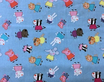 Peppa Pig and Friends Nick Jr Kids Nickelodeon Blue Cotton Fabric t6-18