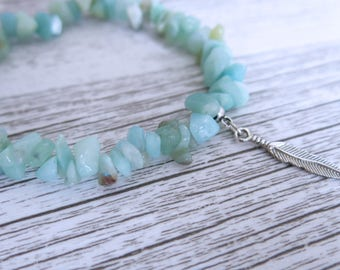 Amazonite Bracelet Amazonite Gemstone Bracelet Amazonite Crystal Chip Choose Your Own Charm Bracelet