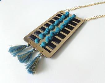 Blue tassel necklace, Tassel statement necklace, longer style blue gold tribal tassel necklace