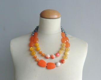 Orange yellow statement necklace, bridal necklace, multi strand necklace