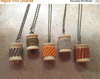 ON SALE Wooden spool necklace your choice of one vintage Handmade