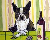 20 % off storewide Boston Terrier, , wine art. wine tile, dog tile, dog, boston terrier tile, coaster,modern folk art,