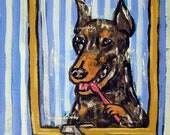 25% off Doberman Pinscher ,doberman art, print on tile, ceramic coaster, gift for dentist, modern dog art, doberman pinscher tile, dog art t